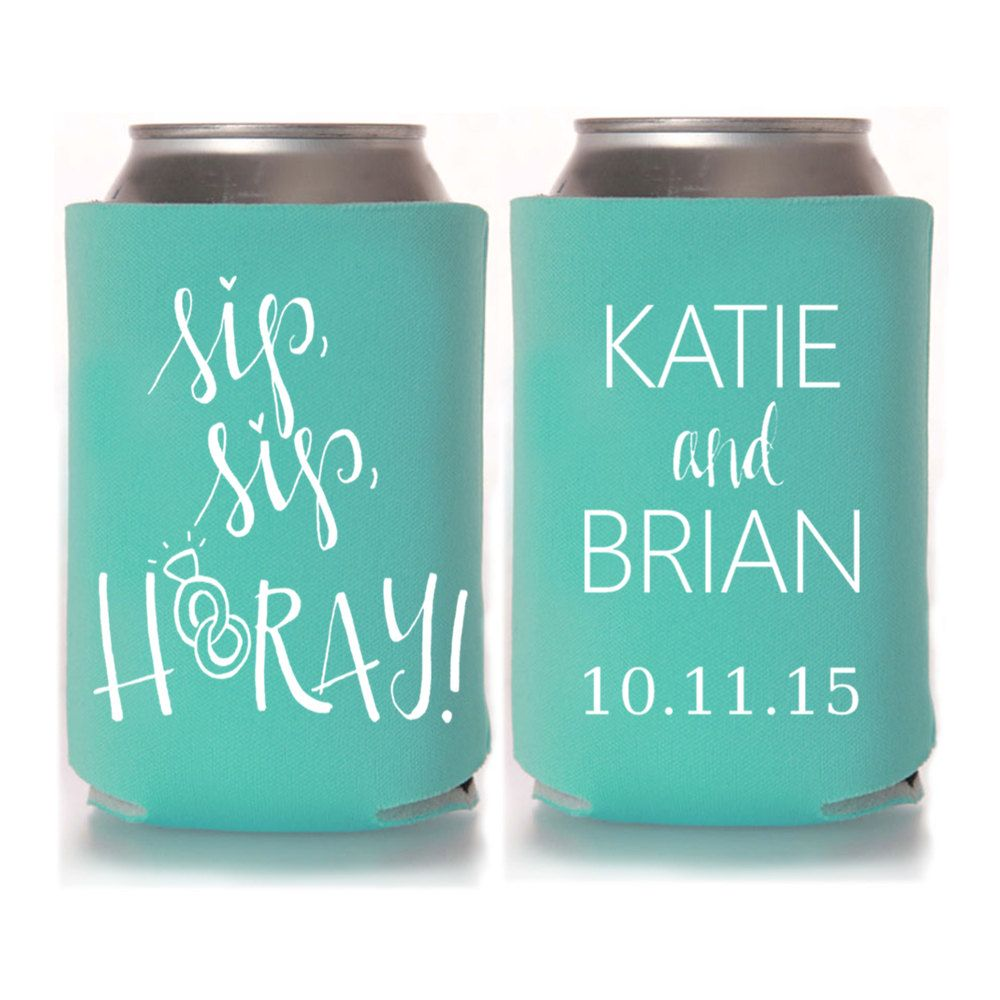 Wedding Favors For Guests Sip Ay Personalized Koozies Destination Fall
