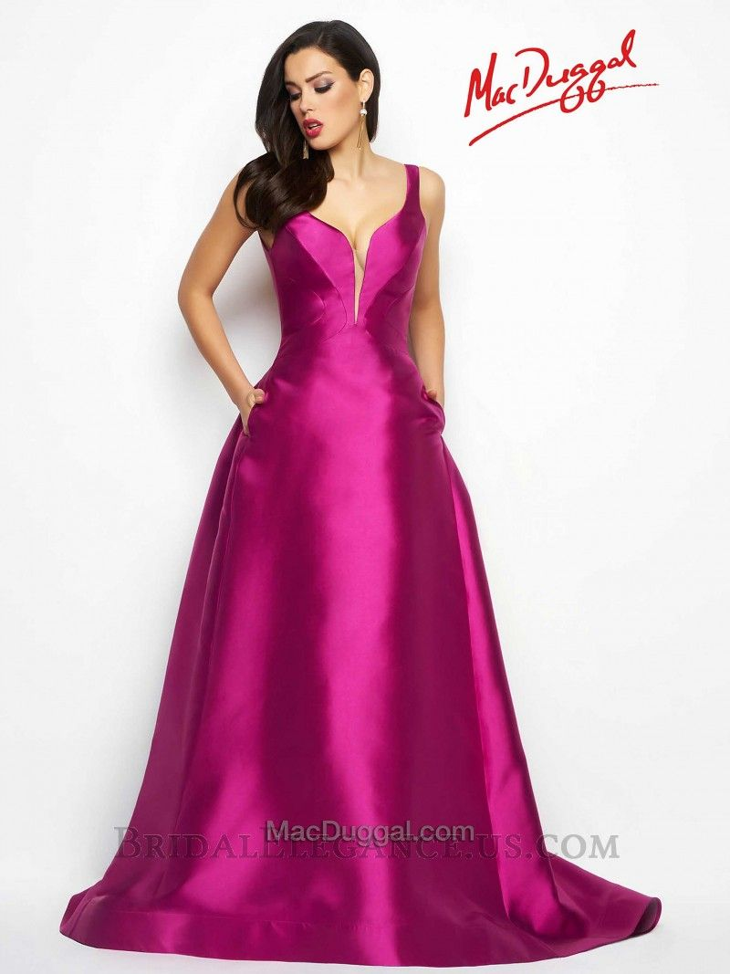 Mac Duggal Classic Plunging Ball Gown #80588 | Prom Dresses | Bridal ...
