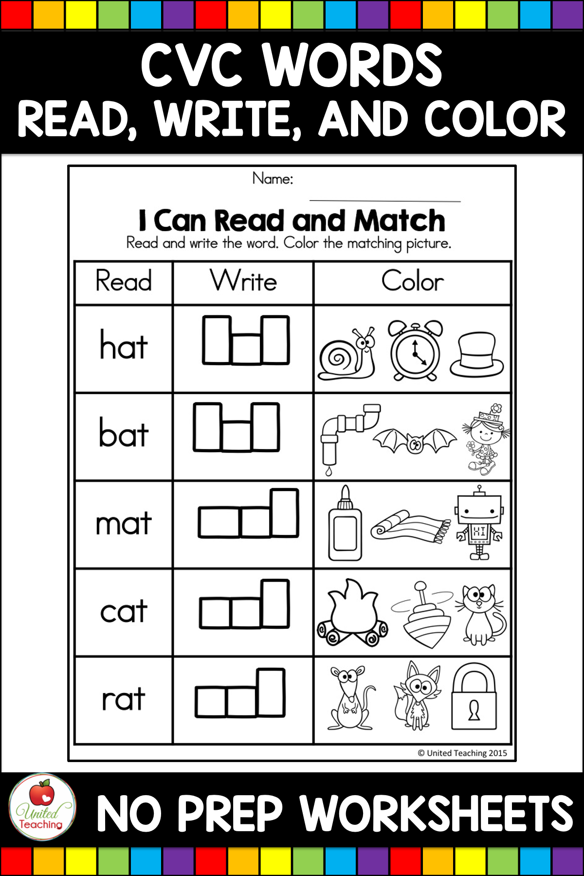 Cvc Words Read Write And Color United Teaching Cvc Words Cvc Word Activities Writing Cvc Words [ 1800 x 1200 Pixel ]