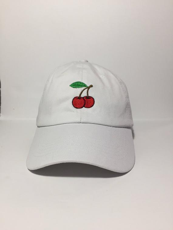 755b2f974edf5 Red Cherry Embroidered Unstructured 100% Cotton Polo Adjustable Baseball  cap dad hat