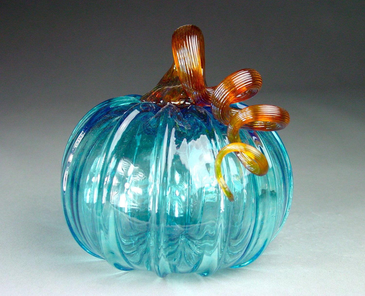 Hand Blown Glass Pumpkin Aquamarine Sparkle Glass Pumpkins Hand