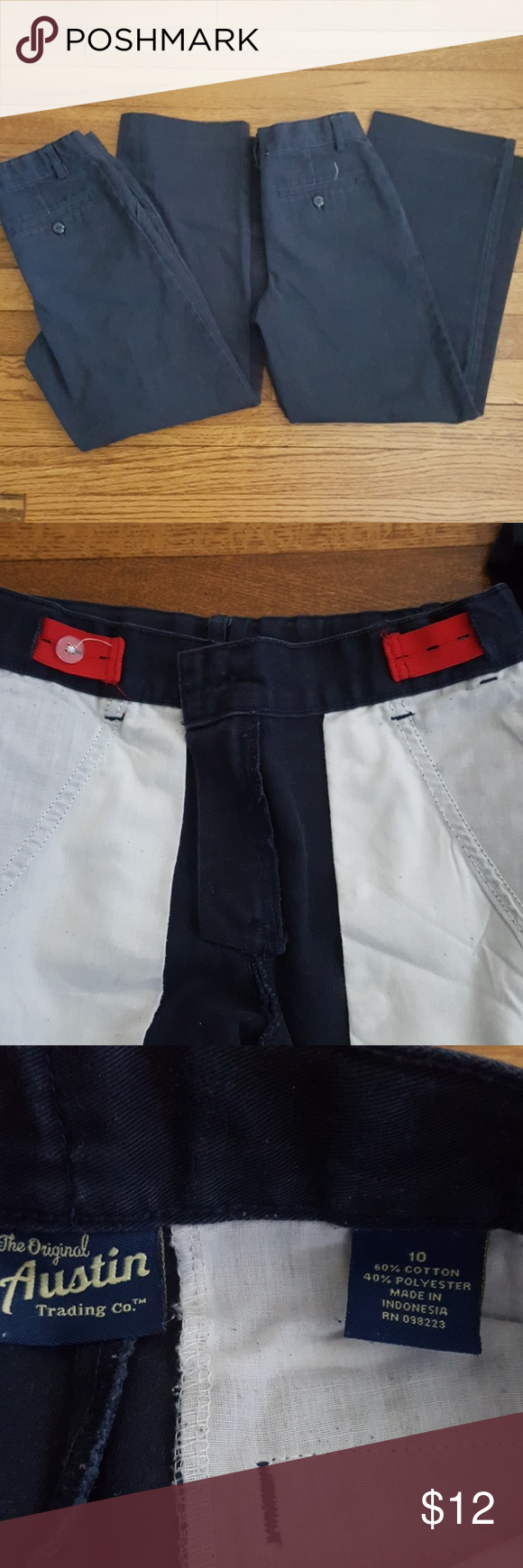Austin Trading Company Navy Khaki Pants Two (2) Pair Of