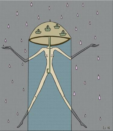 Wet desire/ illustration, gray, pink, rain, umbrella, pink rain, beige, woman, chandralizmy