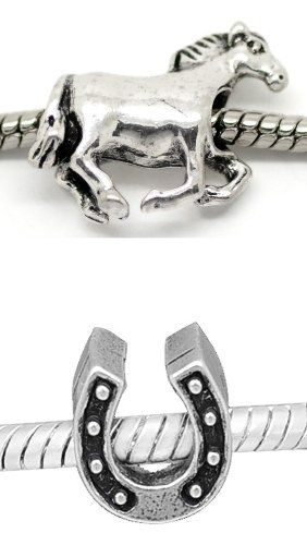 Set Of 2 Charms Horse And Horseshoe Charm Fits Pandora Chamilia Troll Kay S Bracelet Jewelry