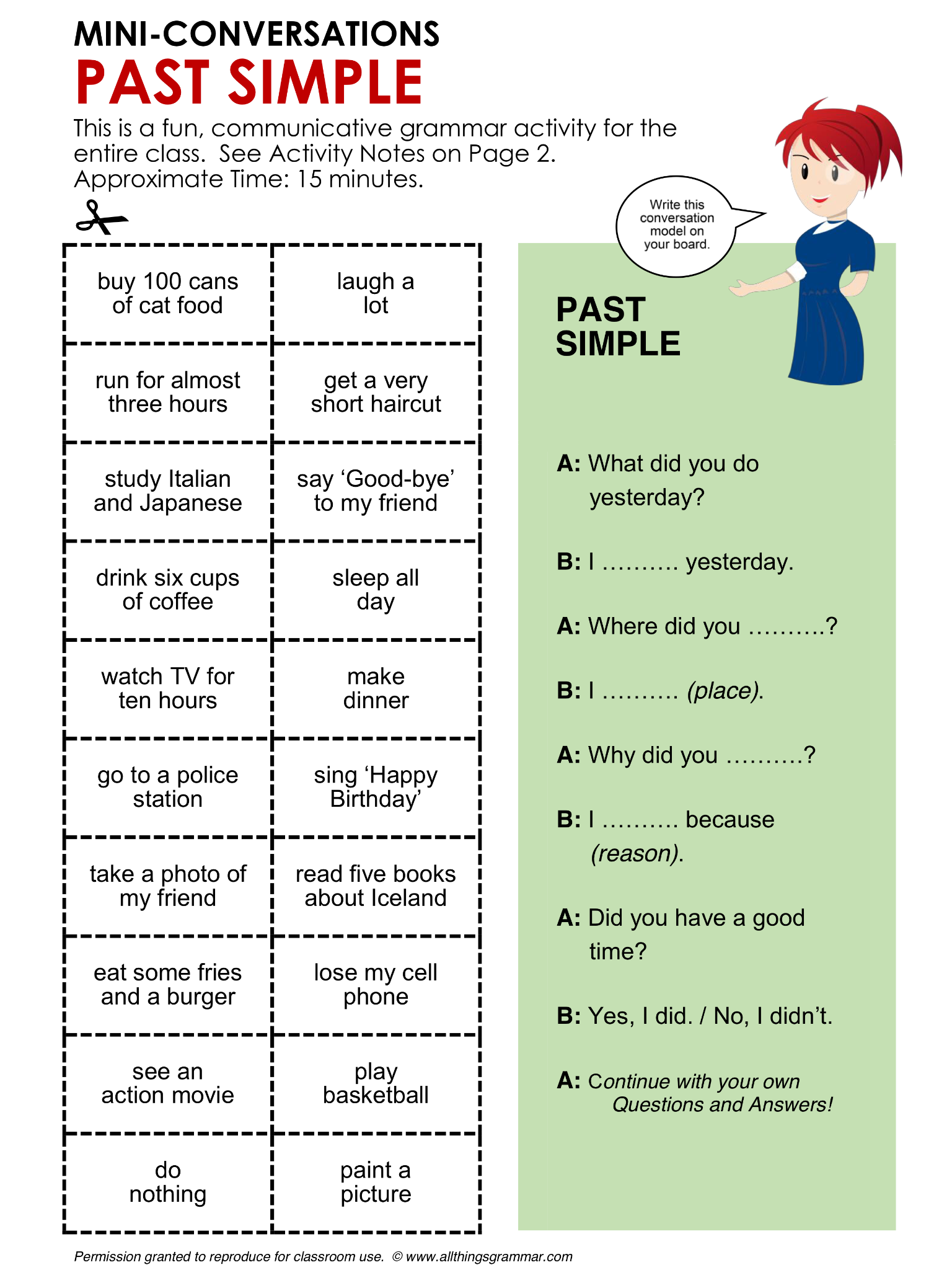 English Grammar Conversation Practice Activity Past
