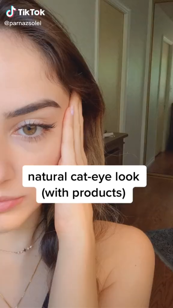 Makeup Tutorial Natural Cat Eye Look Beauty Skincare Makeup Tiktok Video Natural Makeup Tutorial Natural Makeup Natural Eye Makeup