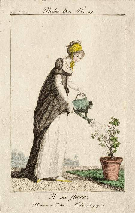 Watering the plants. I like the way her skirt is tucked up out of harm's way. I wonder if this is how Elizabeth Bennet tucked up her dress, so as to end up with muddy petticoats instead, then let the dress down again to hide to muddy hem when she arrived at Netherfield? Mrs Hurst sneers 'I hope you saw her petticoat, six inches deep in mud, I am absolutely certain; and the gown which had been let down to hide it, not doing its office.' Modes et Manières du Jour no. 7 by Debucourt