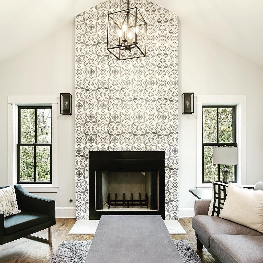Cement Tile Shop On Instagram This May Be One Of Our Favorite Fireplaces Ever This Entire Renovation By P Tiled Fireplace Wall Cement Tile Shop Cement Tile