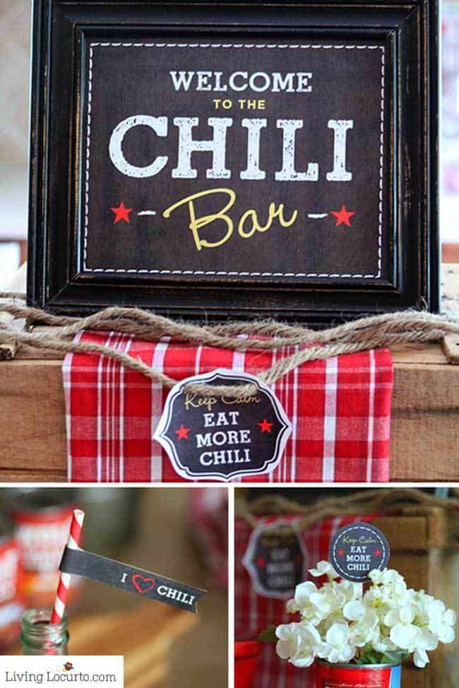 Easy Chili Party Dinner Ideas #chilibar