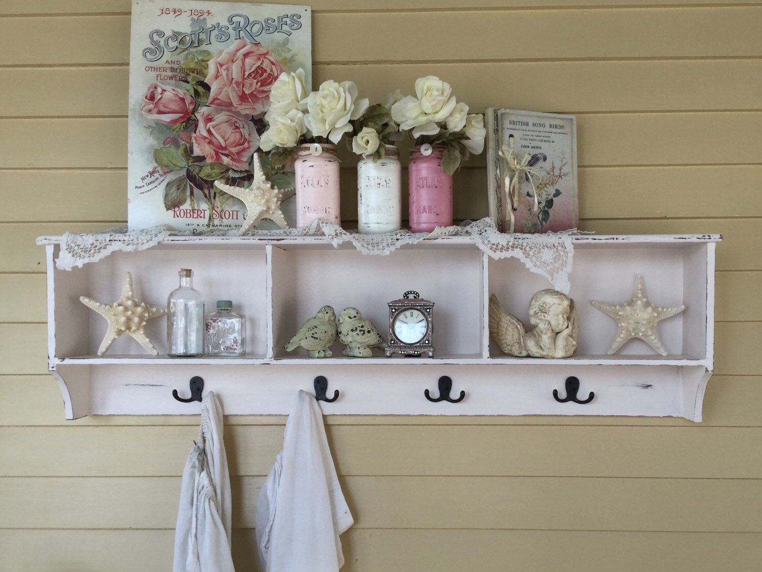 Large White Shabby Chic Display Shelf With Hooks Shabby Chic Kitchen Rack Bathroom Rack Shelf