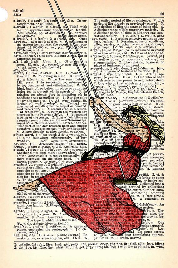 Girl on a swing in a book