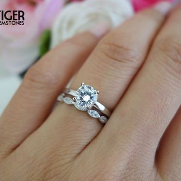 Sale 1 Carat Art Deco Round Solitaire Wedding Set Man Made Diamond Simulants Engagement Handmade Engagement Rings Solitaire Wedding Set Wedding Rings Unique