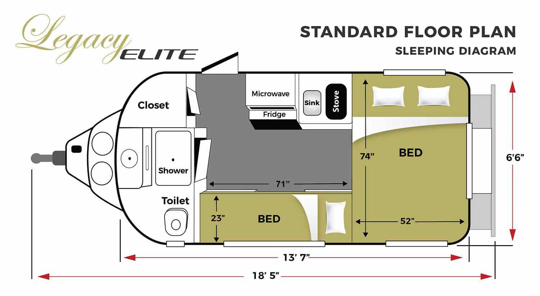 Oliver Travel Trailers Legacy Elite 1 Standard Sleeping Floor Plan