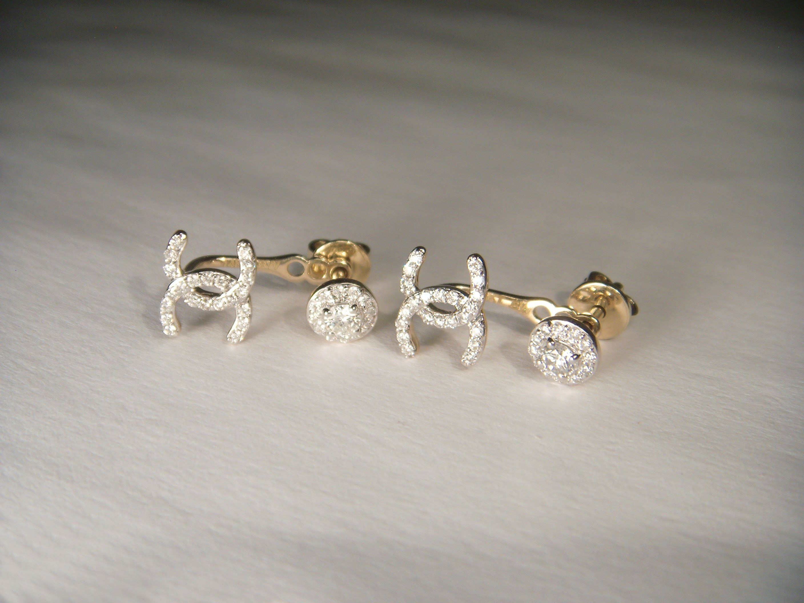 Lovely 14k Yellow Gold Diamond Chanel Sign Stud Drop Earrings
