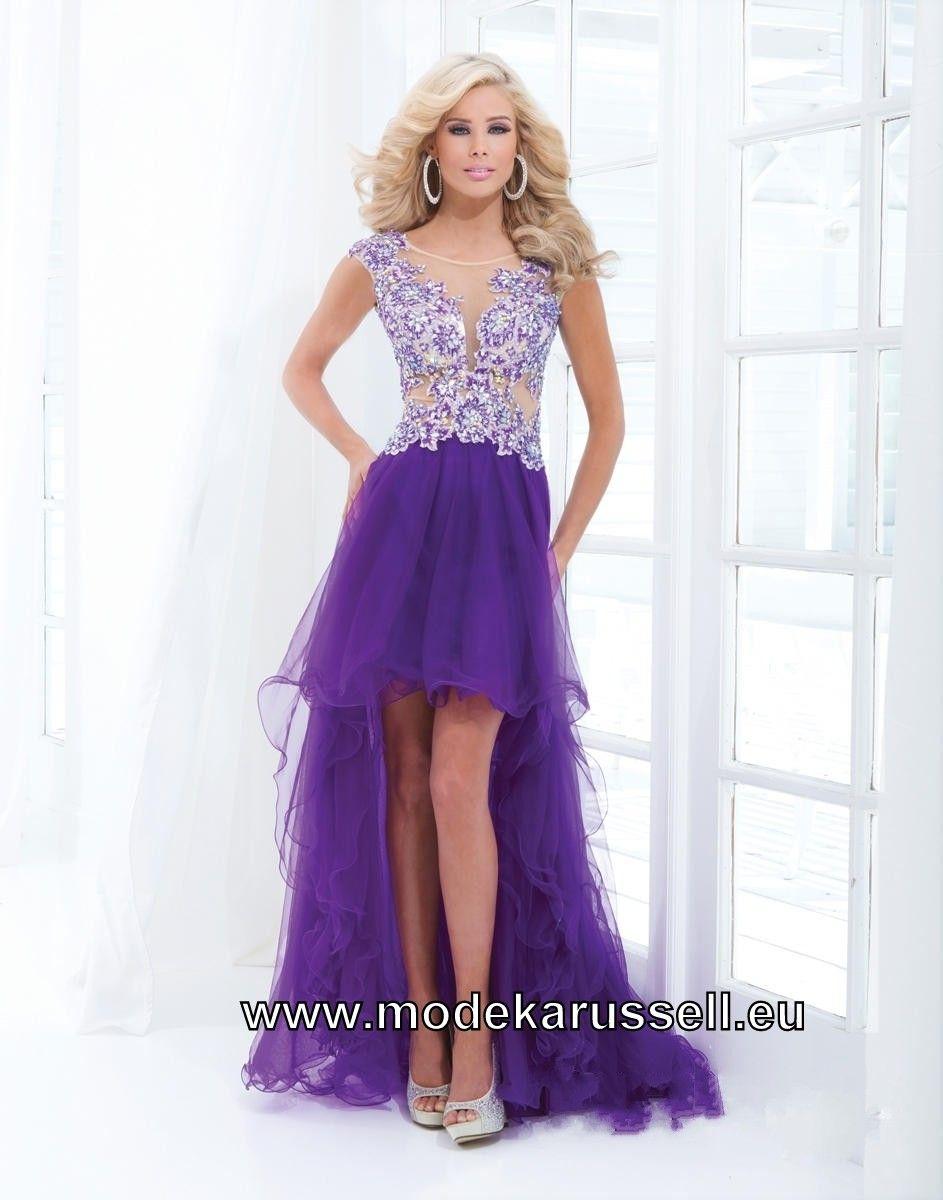 Abendkleid lila vorne kurz hinten lang