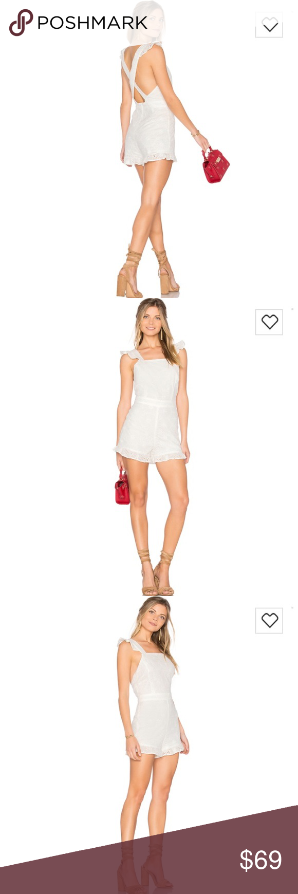 2ec84ac41c4 JOA Ruffle Shoulder Eyelet Romper Off White Small JOA Ruffle Shoulder  Eyelet Romper In White Size
