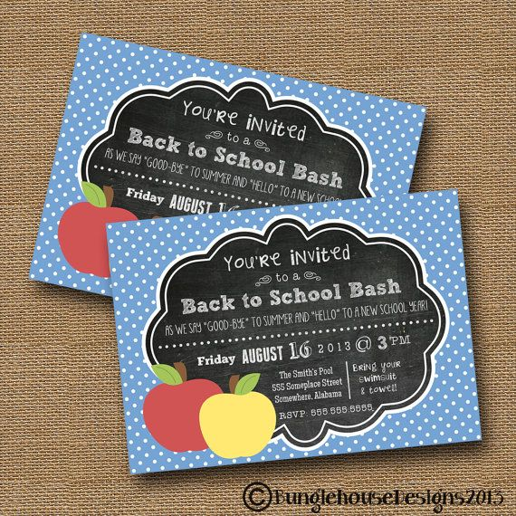 Back To School Invitation End Of Summer By Bunglehousedesigns