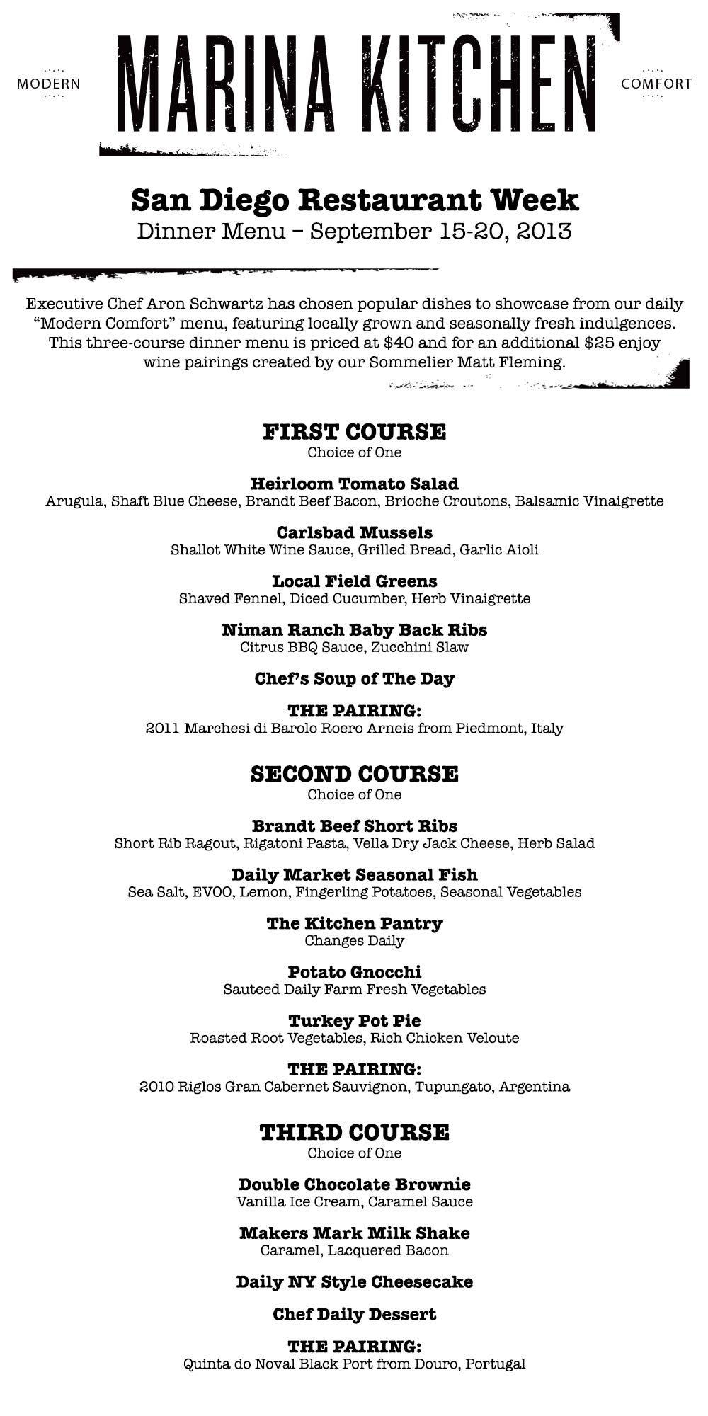 Marina Kitchen S San Diego Restaurant Week 3 Course Dinner Menu