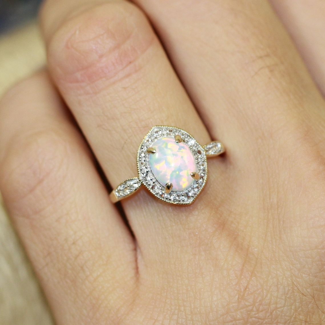 Vintage Inspired Opal Halo Ring In 10k Yellow Gold Oval Engagement October Birthstone
