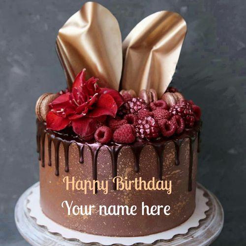 Chocolate Birthday Cake With Name Birthday Cake With Strawberry Topping Write Name Birthday Cake For Brother Birthday Cake Chocolate Beautiful Birthday Cakes