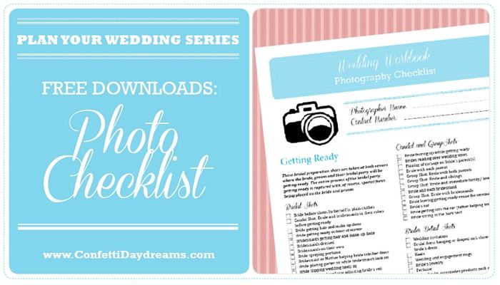 Wedding Photography Checklist Wedding Planning Series  Wedding