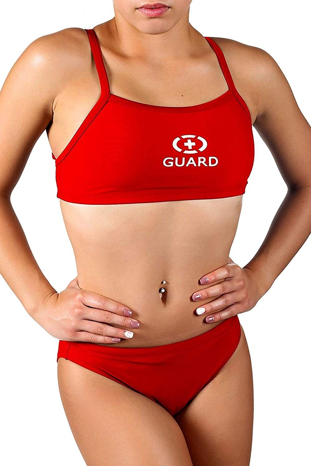 Women's Guard Xtra Life Lycra Two Piece Swimsuit - Red - CM115TXNP7F - Sports & Fitness Clothing, Wo...