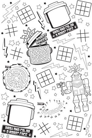 Robot Party Bots Activity Tablecloth (paper) : Decorate