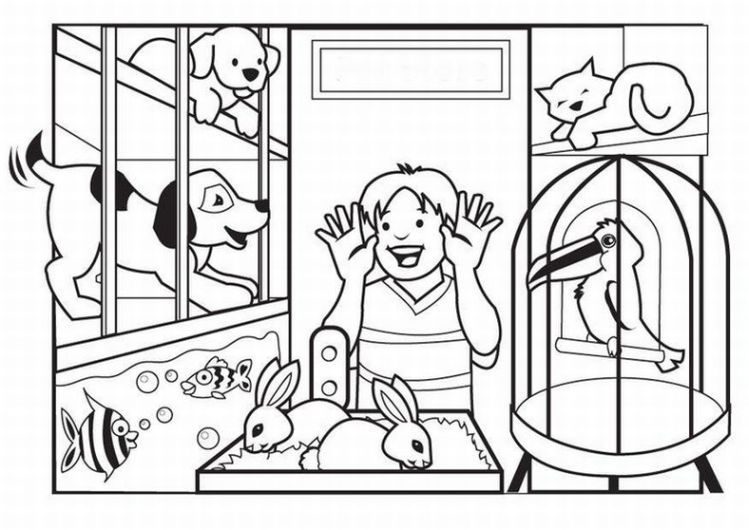 A Visit To The Pet Store Animal Coloring Pages Pets Preschool