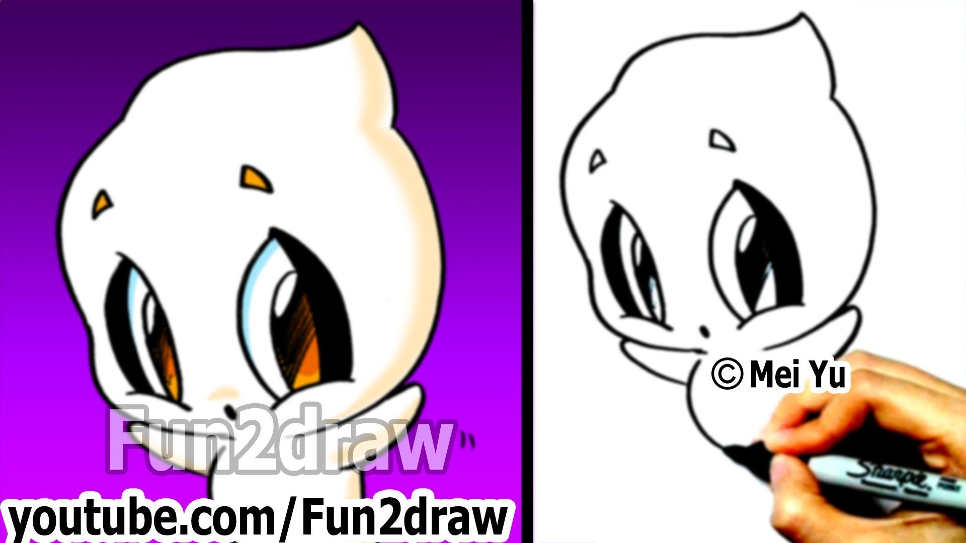 How To Draw Halloween Stuff How To Draw A Ghost Easy Drawing Step By Step Fun2draw Easy Drawings Easy Drawing Steps Easy Cartoon Drawings