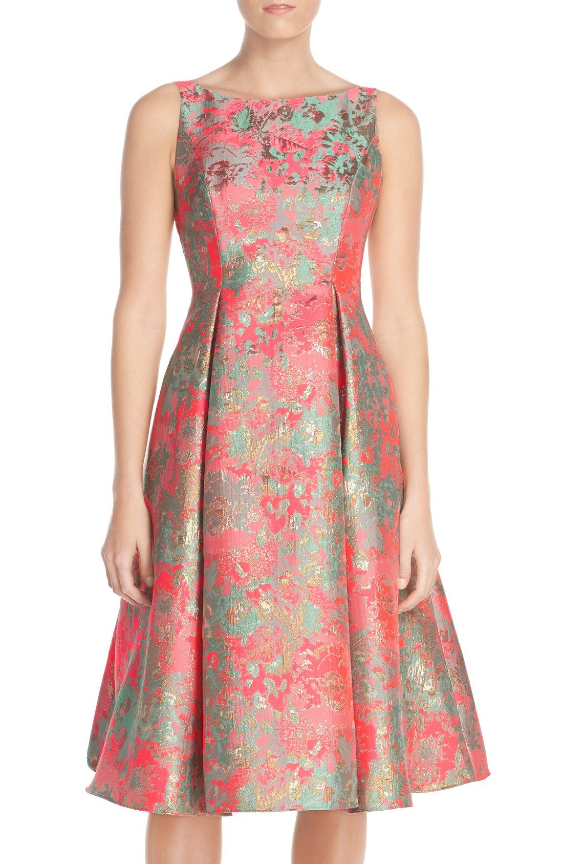 Adrianna Papell Metallic Jacquard Fit & Flare Dress | Style ...