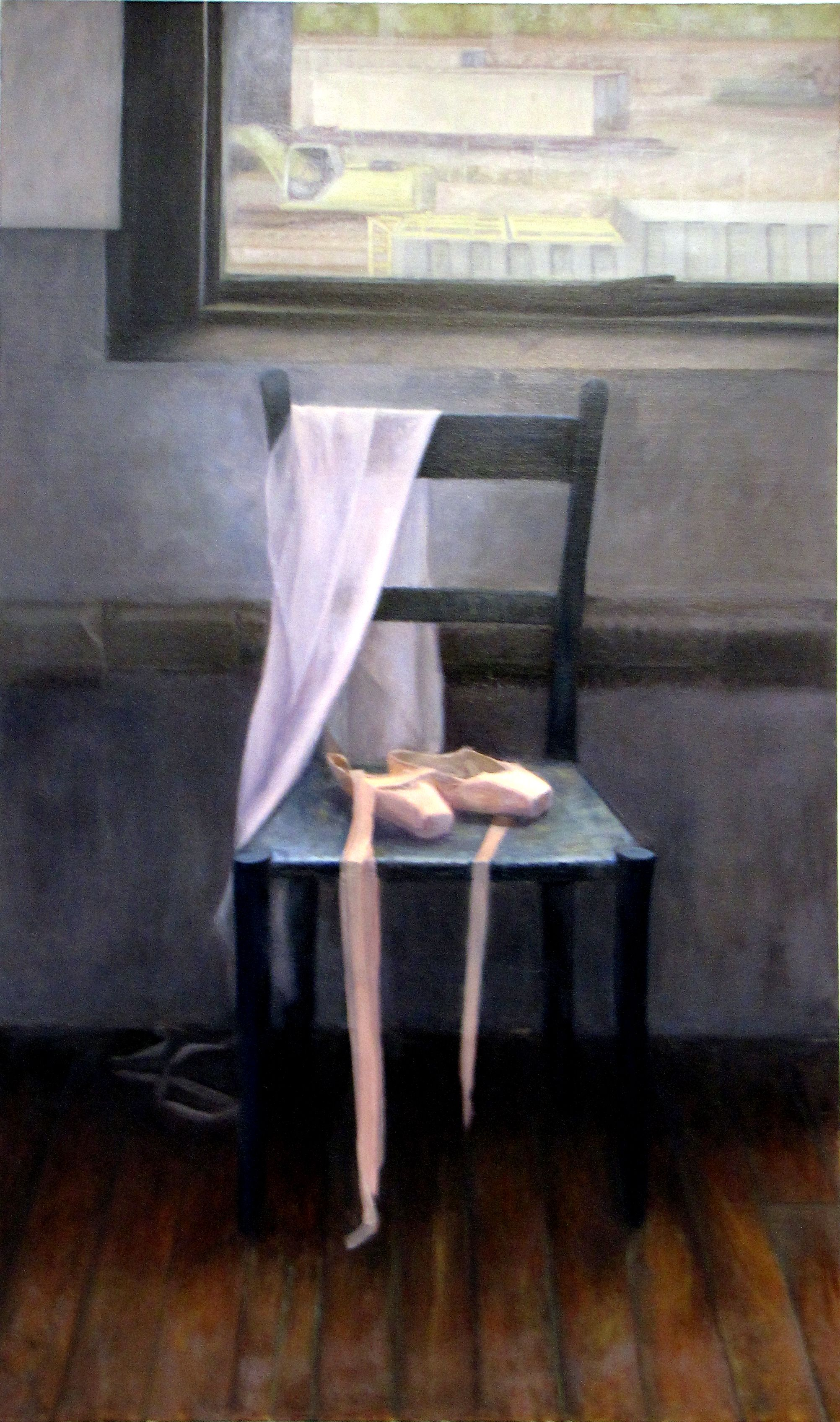 Still Life Painting Chair With Ballet Slipper By Cindy Wagner