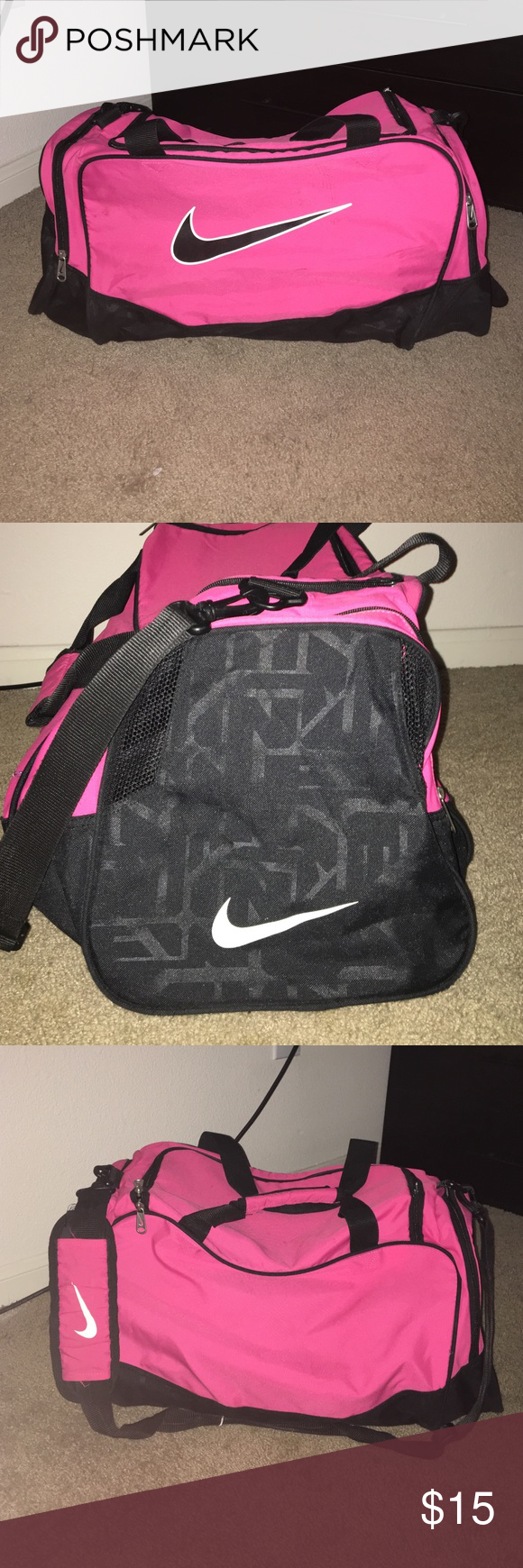 super popular e4ba7 cabc1 Nike Pink Gym Bag Large Nike pink gym bag with  three zipped ... 46d9b8c73f
