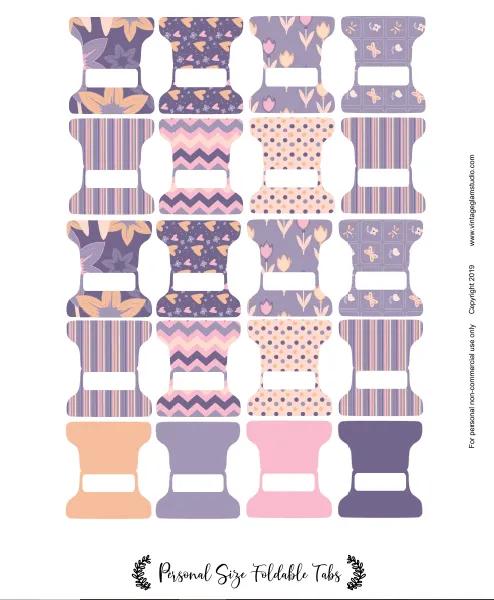 Floral Plum Foldable Tabs Planner Stickers Printable Pestañas Imprimibles Separadores De Carpetas Pegatinas Imprimibles