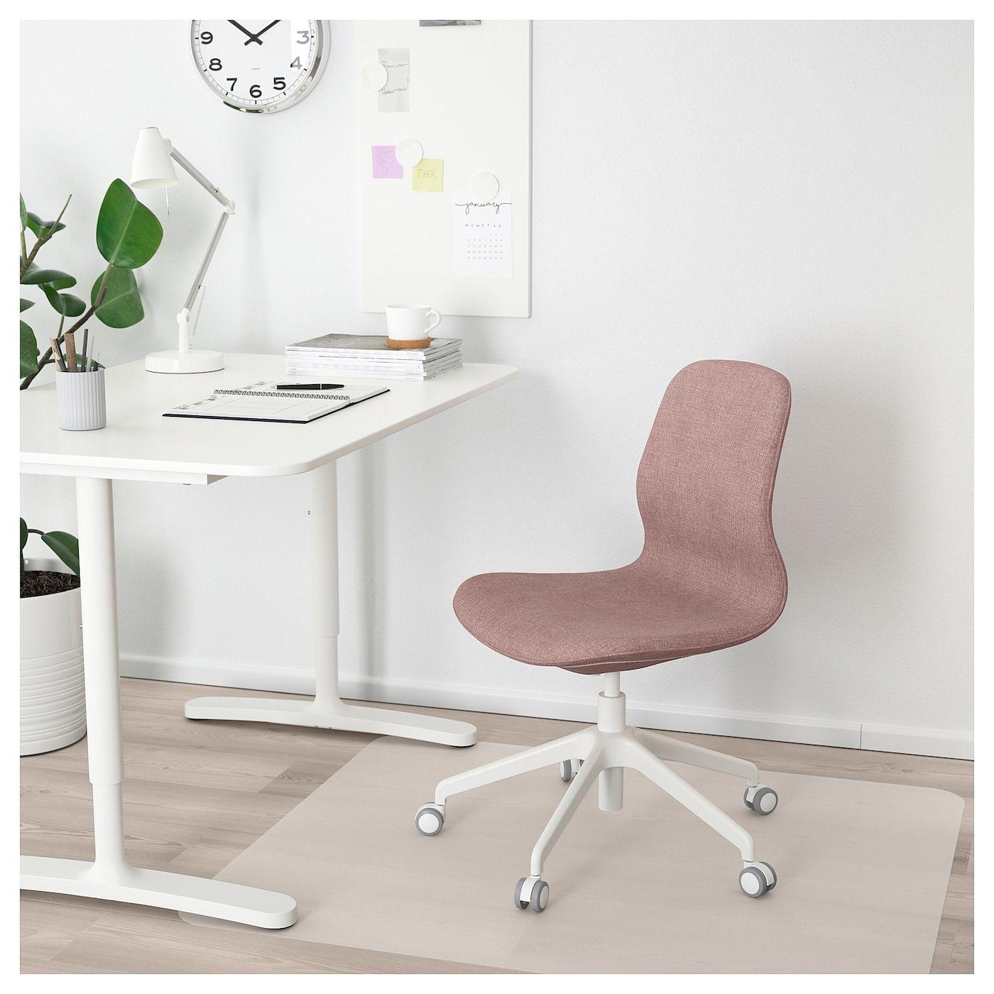 LÅNGFJÄLL Kontorsstol Gunnared ljus brunrosa, vit | Ikea