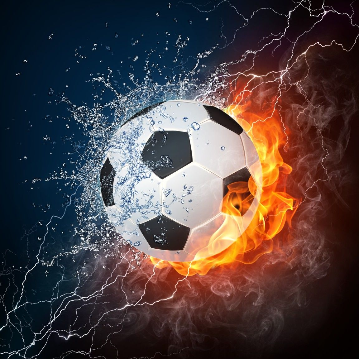 Soccer Ball Water And Fire Backdrop Soccer Wall Art Soccer Ball Soccer Art