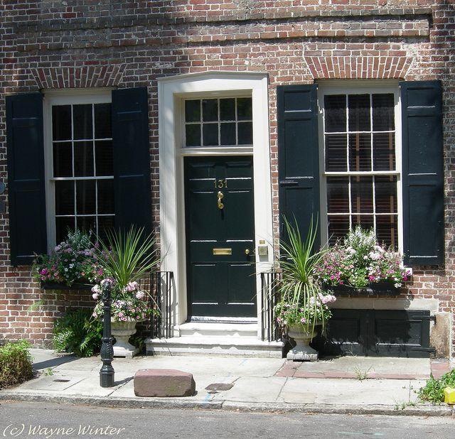 Green Front Doors: Charleston Green Door And Shuttered Windows