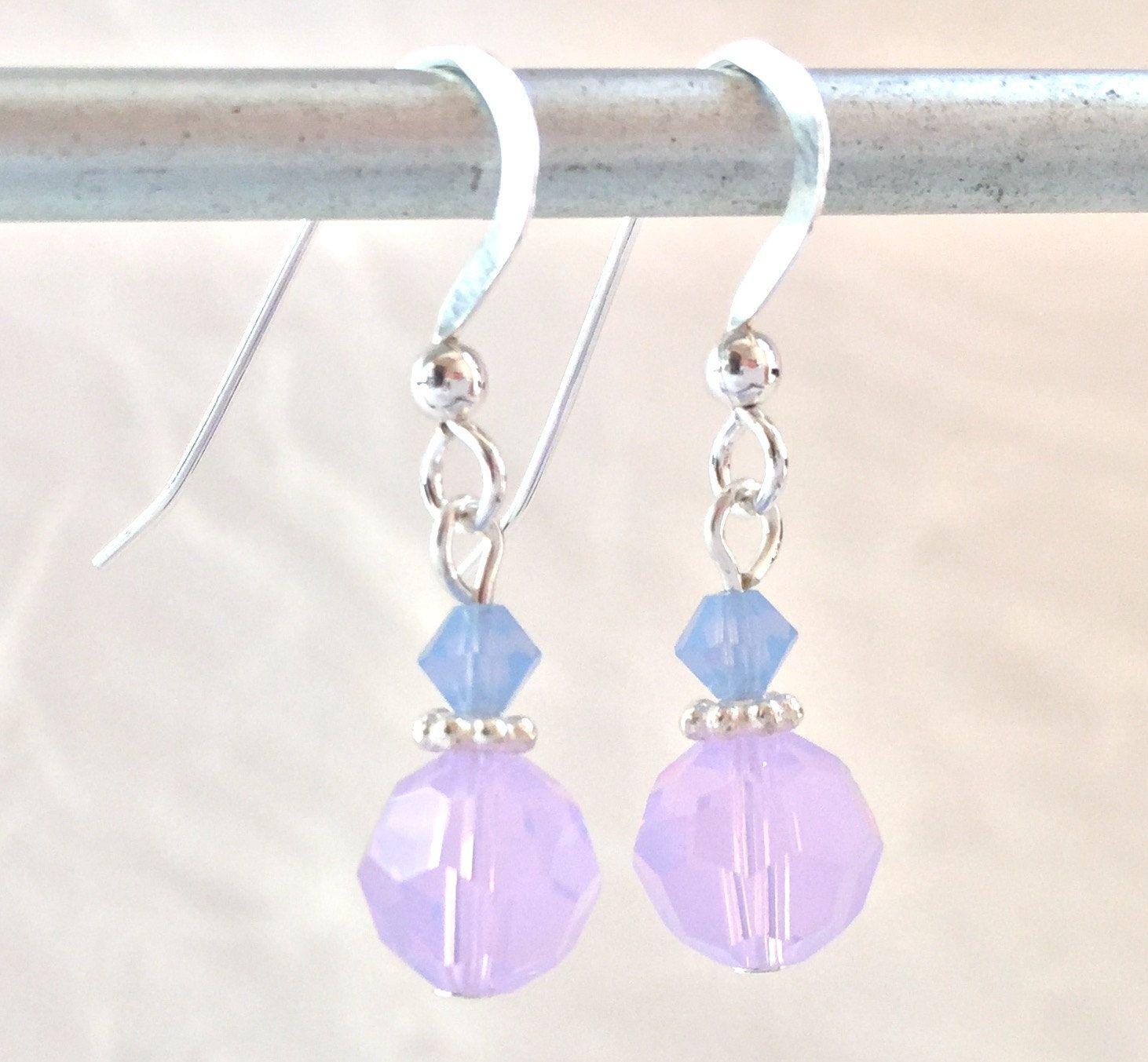 Crystal Earrings  Purple Earrings  Opal Earrings Violet  Swarovski  Crystals  Purple Wedding  Bridesmaid Jewelry  Birthday Gift Wife
