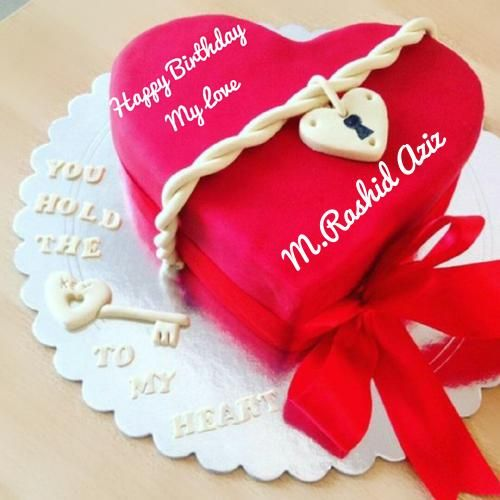 Beautiful Red Heart Birthday Cake For Lover With Name | my love in