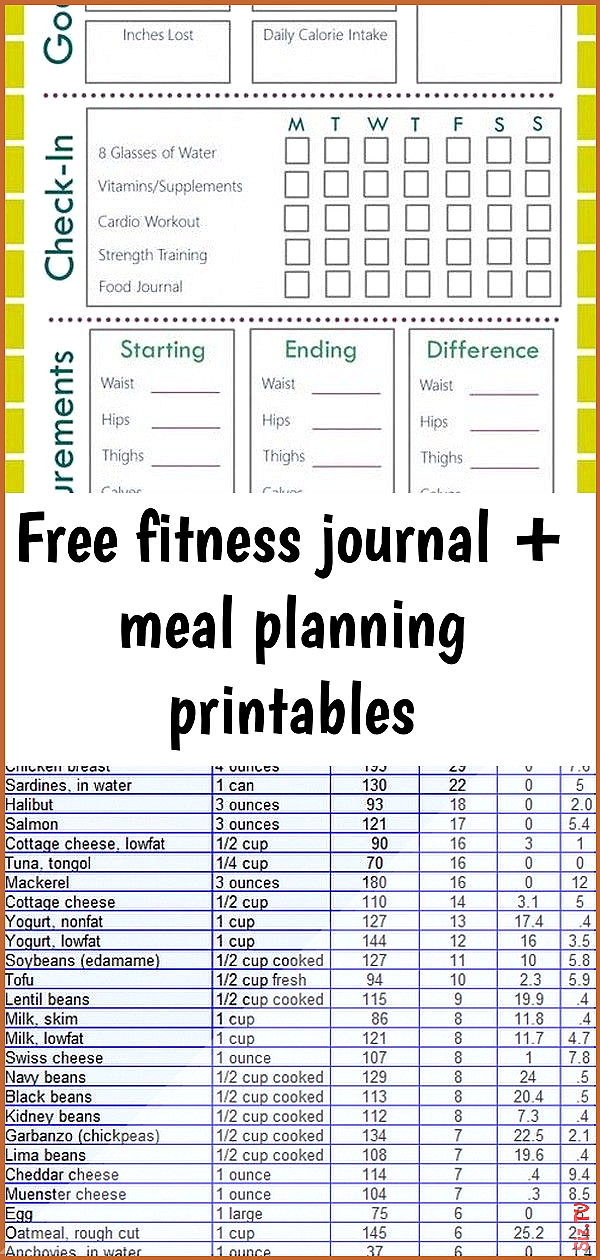 Free fitness journal  meal planning printables Free fitness journal  meal planning printables Robert...