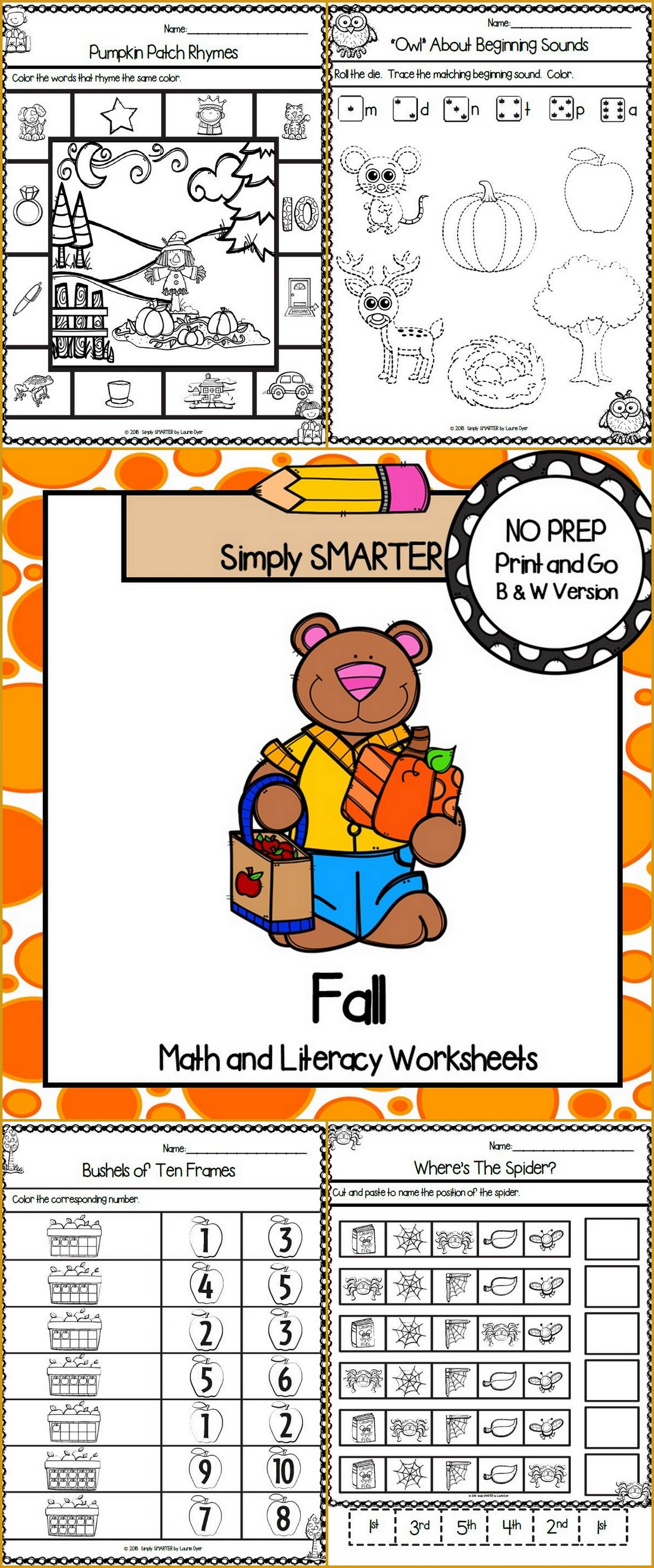 Fall Themed Kindergarten Math And Literacy Worksheets And
