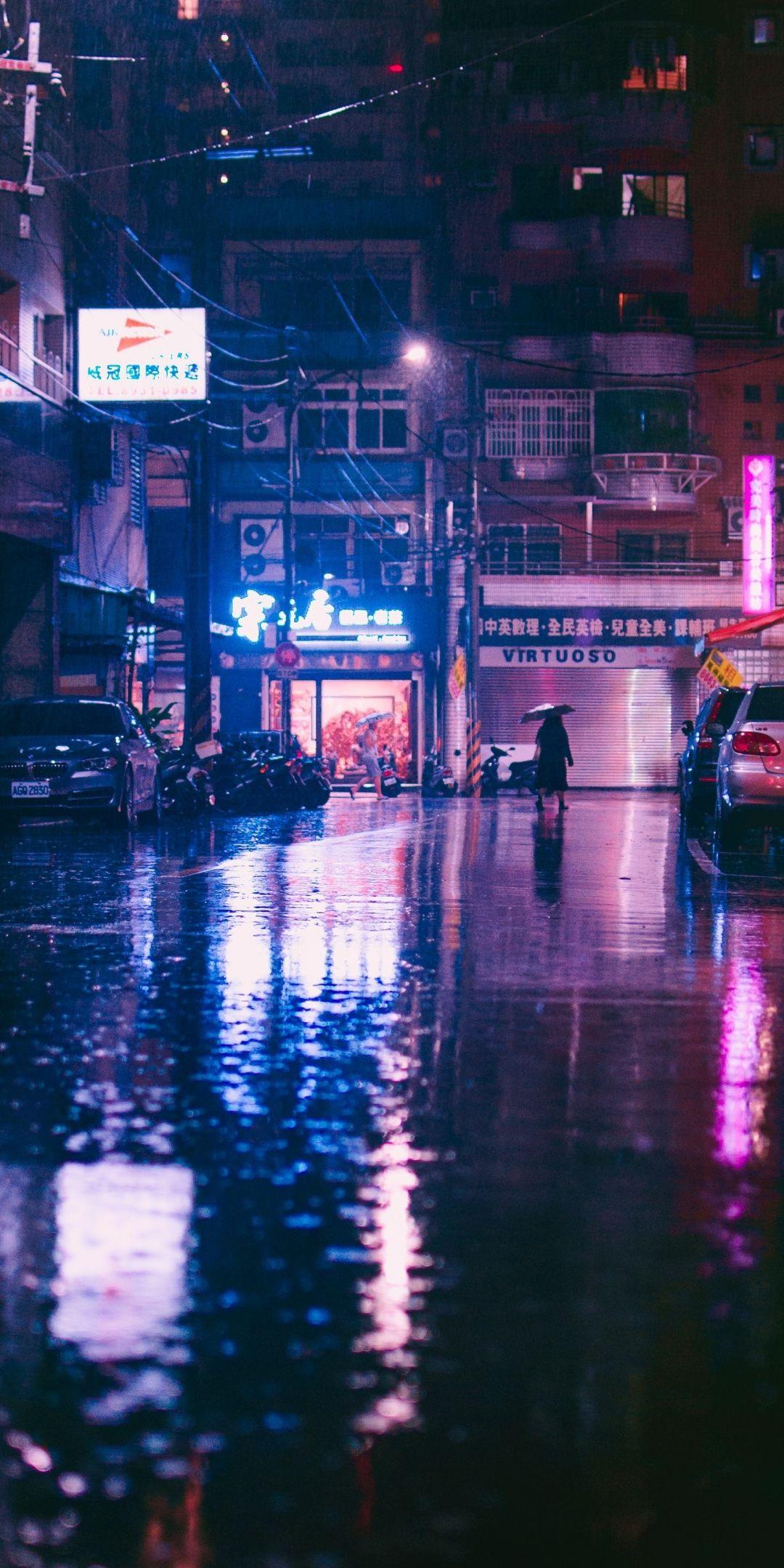 Rain, Lights, City Street, Reflections, 1080x2160