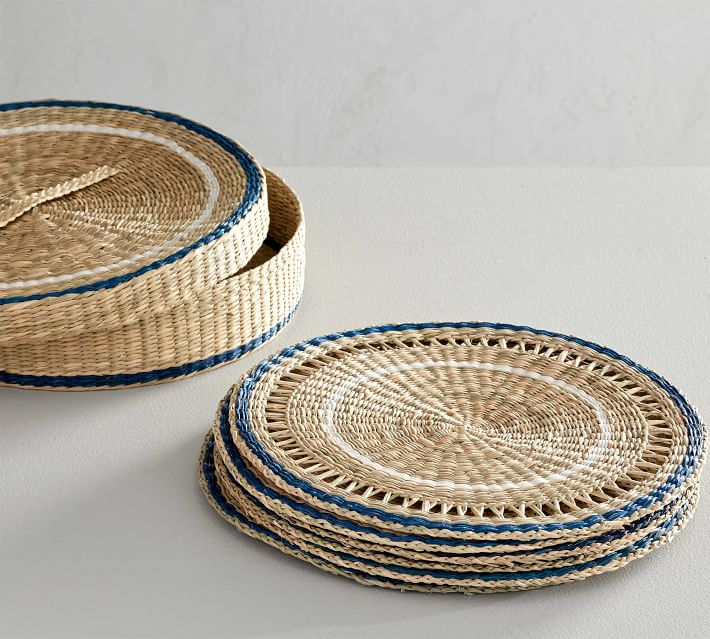 Blue Rim Woven Seagrass Placemats Set Of 6 Pottery Barn Woven Placemats Placemats Pottery Barn