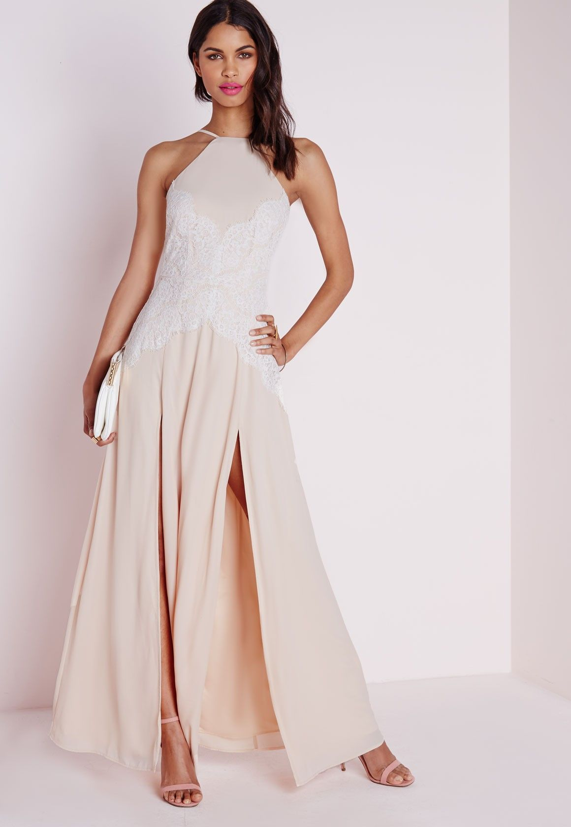 Missguided halterneck white eyelash lace maxi dress nude dress