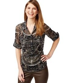 INC International Concepts Paisley-Print Rhinestone-Button Shirt, Only at Macy's