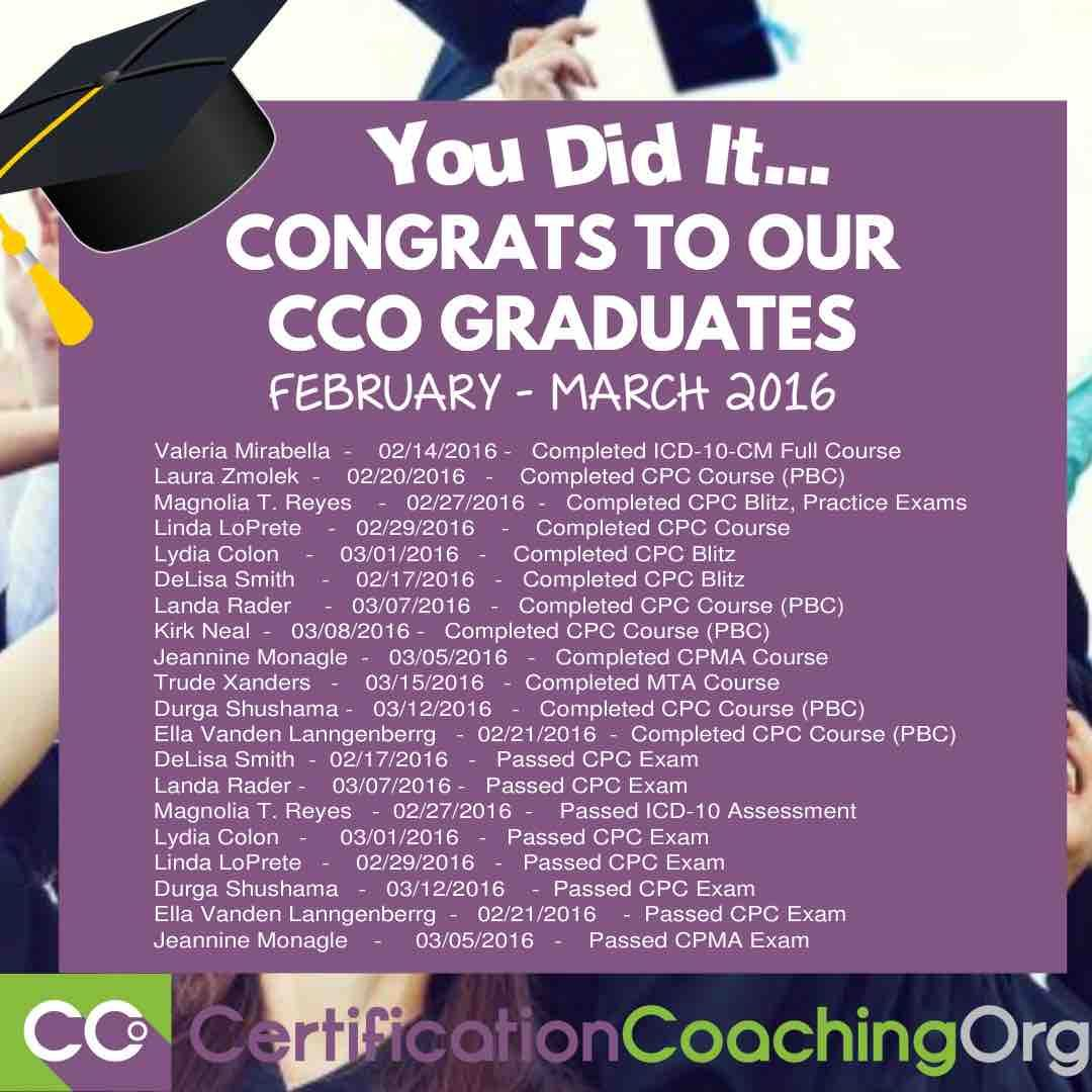 Wahoo congrats to our new cco graduates cpc exam passers icd congrats to our new cco graduates cpc exam passers icd 10 exam passers cpma exam passers competitive exams are not so easy but you do it with competency xflitez Choice Image