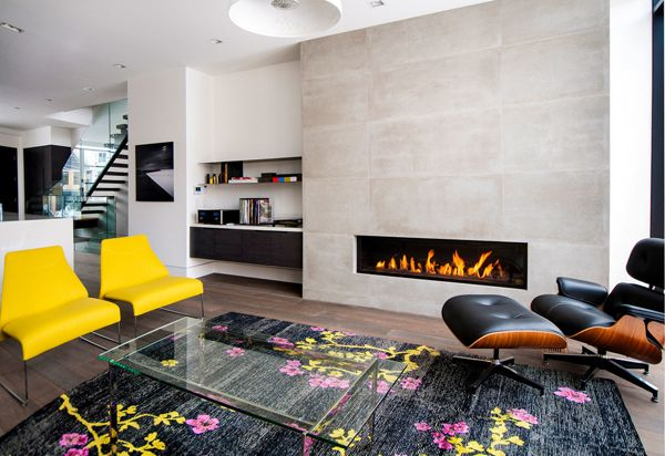 Modern Design | Colorful Living Room | Floral Rug Pattern | Montigo  Fireplaces | Fireplace Ideas