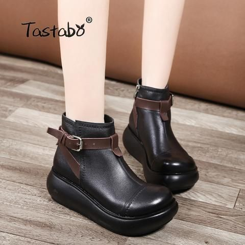 5598c70e81 Tastabo Boots Women Autumn Genuine Leather Ankle Boots for Women Soft Martin  Wedges Platform Shoes Ladies From Touchy Style Outfit Accessories.
