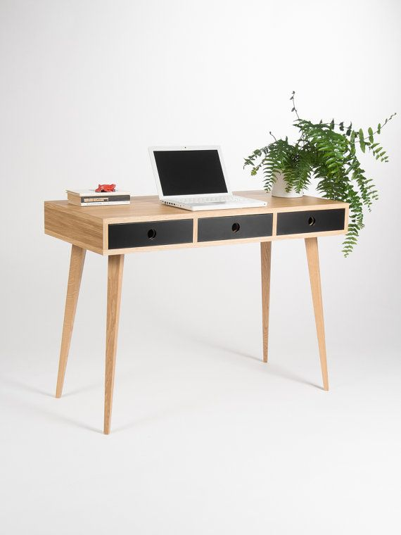 Small Modern Desk Bureau Dressing Table Oak Wood Mid Etsy Modern Small Desk Modern Desk Scandinavian Furniture Design