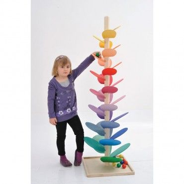 This fabulous giant marble run is multisensory. Noises are made as the marbles move and drop down the colourful petals, creating visual value. Cause and effect, visual tracking.