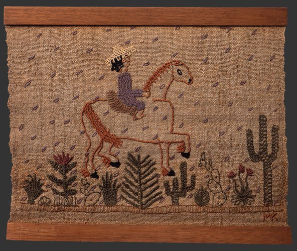 Tequila Trip, ca. 1947 by Mariska Karasz Cotton on unidentified handwoven fiber with wooden slats, approx. 12 3/4 x 15 1/4 inches Cat. no 134